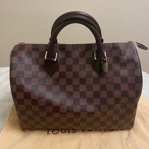 AUTH Louis Vuitton SPEEDY 30 Damier Ebene canvas